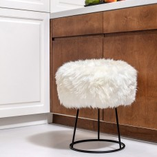 Monochrome Sheepskin Metal Stool