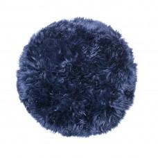Blue Sheepskin Round Rug