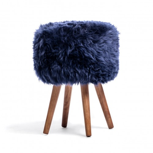 Blue Sheepskin Stool