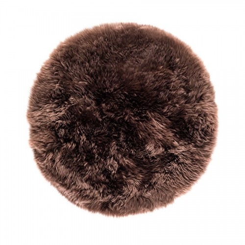 Brown Sheepskin Round Rug