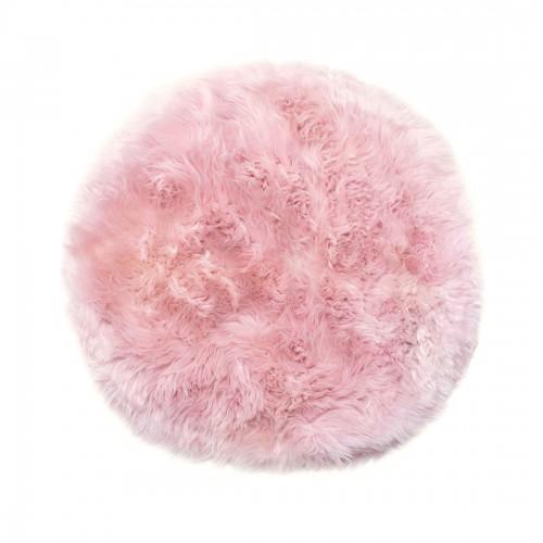 Pink Sheepskin Round Rug