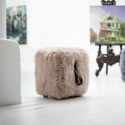 Light Brown Cube Pouffe