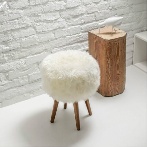 Monochrome Sheepskin Stool