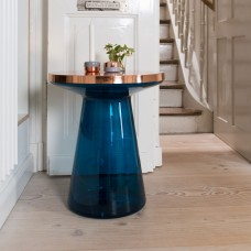 Figure Glass Side Table Blue