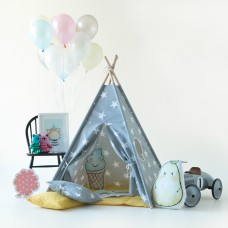 Large Stars Grey Teepee Set